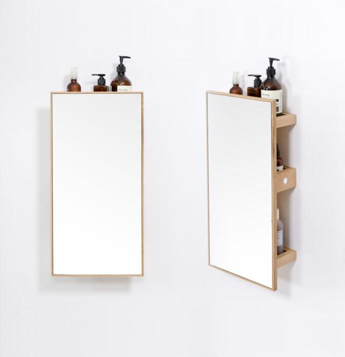 Mirror 3 trays slimine oak