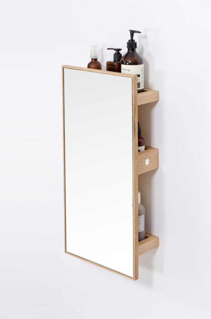 Mirror 3 trays slimline oak